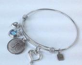 Personalized Expandable Bangle Charm Bracelet, Monogram, Initial, Birth..stone, Birthday, Bridesmaid gift, Alex and Ani style bracelet