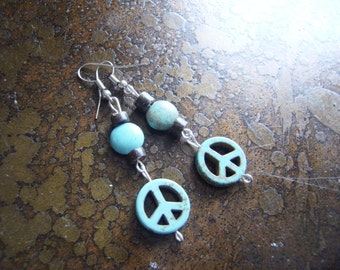 A Touch of Peace Howlite Turquoise and Wood Beaded Dangle earrings