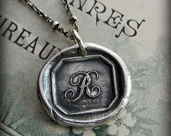 Silver Initial R Wax Seal Stamped Pendant, Eco Friendly Jewelry, Recycled Fine Silver, Vintage