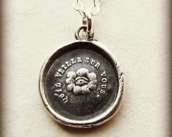 May it Watch Over You - antique French wax seal necklace - The Eye of Providence - Protection - FR500