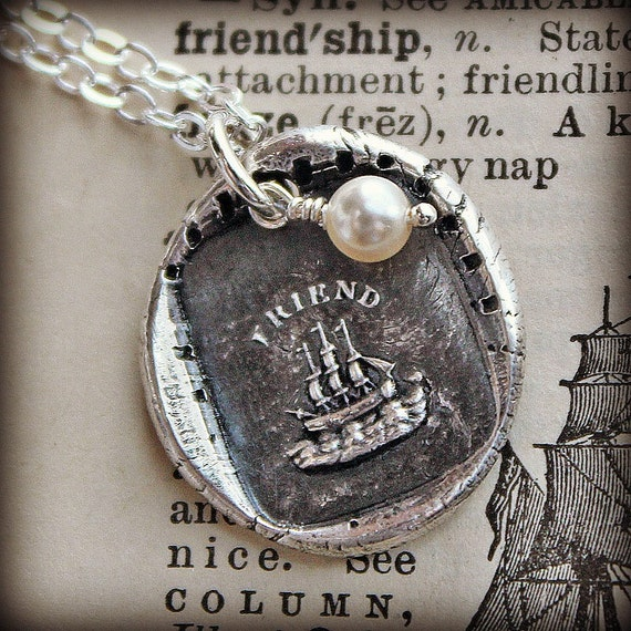 Friendship Wax Seal Charm Necklace - The Only Unsinkable Ship is Friendship - Friendship Necklace - E2285
