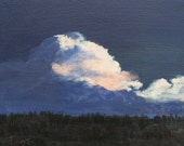 Art on canvas, Original landscape, Cloud painting, Night painting, 8 X 10, by Foust