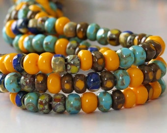 6/0 Southwest 3 Cut Czech Glass Stripe Picasso Seed Bead Mix : 1 Ten inch Strand Orange Turquoise Three Cut Mix