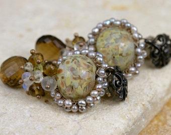 Gemstone Earrings - Lampwork Earrings - Wire Wrapped Earrings - Dangle Earrings - Beer Quartz & Moonstone Earrings