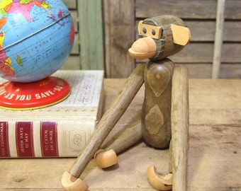 Free Shipping Jointed Wood Teak Monkey Doll in the style of   Kay Bojesen and Hans Bolling Toy Quon Quon Japan