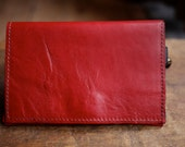 OOAK Red & Black Leather Wallet w/ Zipper Coin Pocket