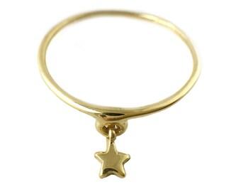Star Ring silver gold dangle sterling 14K