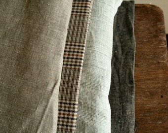 LINEN + COTTON FABRICS / remnants / 10 pieces / linen fabric / stripes / australia