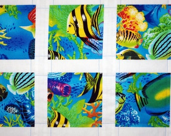 Tropical Quilted Wall Hanging, Salt Water Fish, Ocean Quilt, Lap Quilt, Baby, Crib, Nursery Quilt
