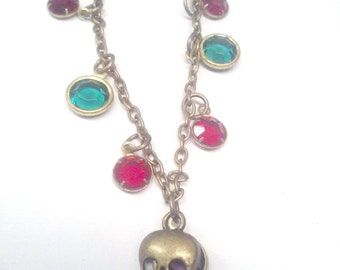 Vintage Crystal with Brass Skull Necklace