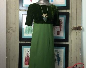 1960s dress maxi dress green dress velvet dress size small vintage dress mod dress 60s dress 32 bust empire waist dress