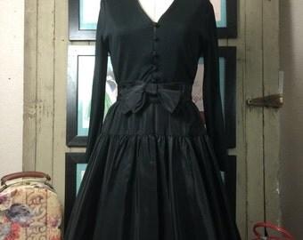 1960s dress party dress black dress size medium vintage dress cocktail dress taffeta dress