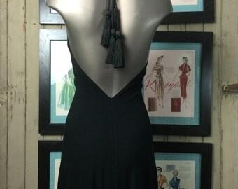 Fall sale Backless dress tassel dress jersey dress size medium Vintage dress black dress halter dress