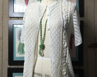 1980s crochet top 80s white cardigan size medium Vintage knit sweater