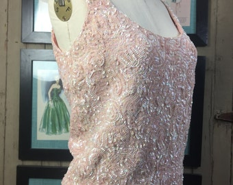 1950s sequin top 50s pink top size medium Vintage beaded top sleeveless wool tank top