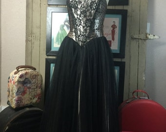 Sale 1980s dress 80s prom dress tulle dress strapless dress size small Vintage dress Jessica McClintock dress