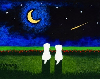 Maltese Dog Bichon Frise Folk Art print by Todd Young painting STARRY BEACH
