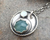 30% OFF - Pale Blue Aquamarine Synthetic Opal Sterling Silver Necklace
