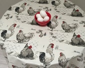 """New Roosters and Hens Tablecloth, Acrylic Coated Tablecloth, 60"""" Round Tablecloth"""