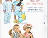"Kwik Sew 3771  Doll Clothes 18"" 45cm Day & Night Wardrobe Sewing Pattern NEW"