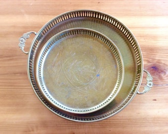 Brass Trays. Vintage Gold Decor, Chinoiserie Decor. Indian Brass Serving Trays with Handles & Rim / Lip, Round Metal Tray. Moroccan Style.