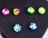 3 Pairs of Colourful Dichroic Glass on Sterling Silver Stud Earrings -10mm - Gift Boxed