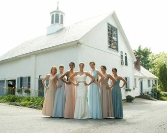 Local Upscale Convertible Infinity Bridesmaid Dress  to size/length/strap width ALL COLORS Mismatched Neutrals Dusty (compare to Twobirds)