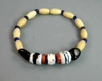 Mens trade bead bracelet, Native American beaded bracelet, bone beads, rustic bracelet, stretch bracelet, medicine beads, tribal bracelet