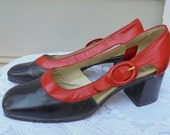 60s leather  shoes navy red 1960s mod hippie  pumps heels 6  from vintage opulence on Etsy