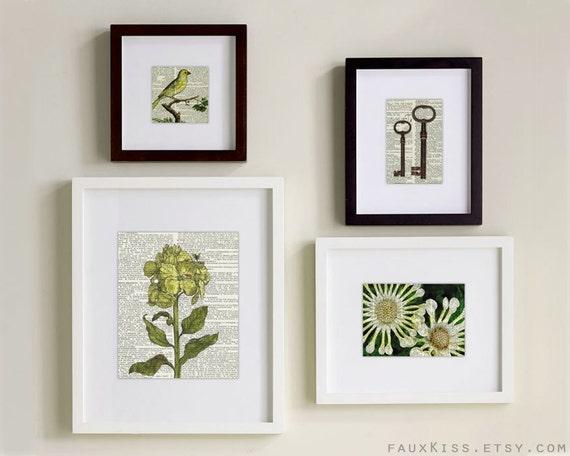 Print set, Four Prints dictionary page prints