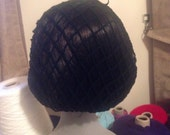 1940s style retro ribbon snood hairnet in classic black - Audrey