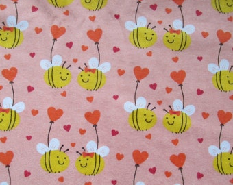Cotton flannel - Honey bees - heart - balloon - 1 yard