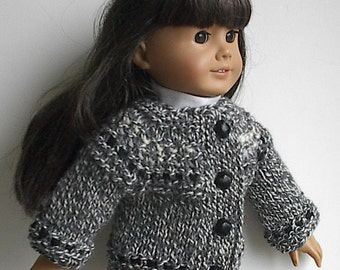 "18 Inch Doll Clothes Handknit Cardigan Sweater Grey Tweed with Cream and Black Handmade to fit American Girl and Other Similar 18"" Dolls"