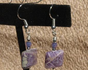 Earthy Purple Flower Earrings 16016