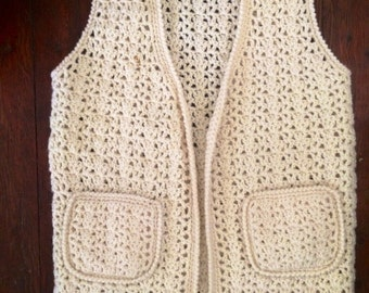 Womens vintage 1970's cream colored knitted boho/hippie vest size large