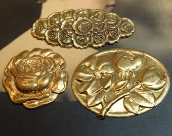 Vintage Brass Roses Large Stampings