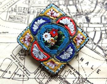 Vintage Pin Micro Mosaic Square Italian Jewelry
