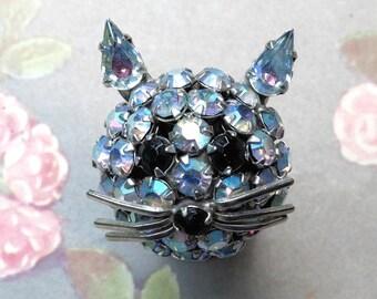 Vintage Rhinestone Cat Head Pin Signed Warner