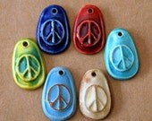 6 Handmade Ceramic Peace Sign Beads in a Rainbow of Colors