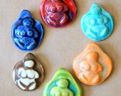 6 Handmade Ceramic Beads - Pinch top Goddess Beads - Primitive Venus Beads