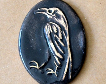 1 Handmade Ceramic Mosaic Tile - Stoneware Raven Cabochon - Handmade Raven Oval Large Tile - Autumn Halloween