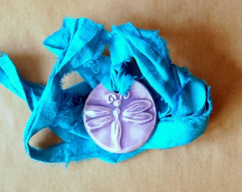 Handmade Ceramic Pendant with a Lovely Lavender Dragonfly - Wedding Jewelry with Sari Yarn Ribbon