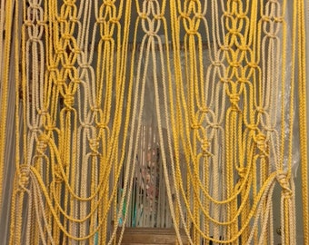 Modern Fiber Art Macrame Knot Weaved & Beaded Curtain Panels