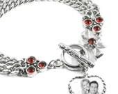Personalized Photo Charm, Photo Heart, Custom Photo Bracelet, Heart Bracelet, Stainless Steel Bracelet