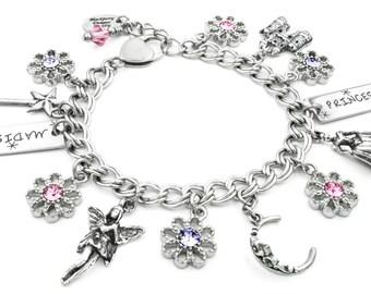 Girls Princess Jewelry, Personalized Bracelet, Princess Bracelet, Girls Birthstone, Young Girl Jewelry, I love Princesses, Girls Jewelry