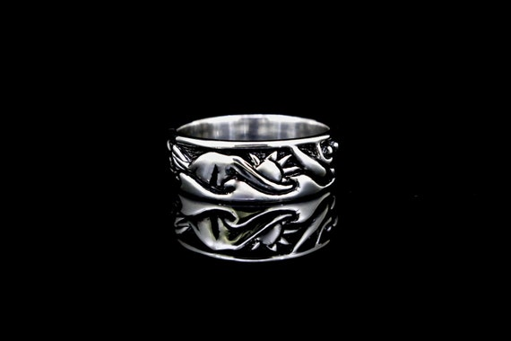 Northwest Scene Ring - Sterling Silver, recycled sterling silver wedding band, re-purposed silver ring