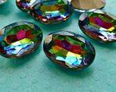 Two 18x13mm Vitrail Oval Glass Rhinestone Jewels (11-15F-2)