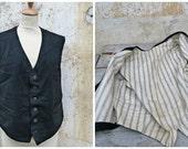Vintage Antique 1900/1930  MAN VEST black wool lined with stripes size L
