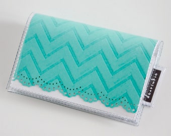 Handmade Vinyl Card Holder - Blue / card case, vinyl wallet, snap, women's wallet, small wallet, chevron, embossed, lace, doily