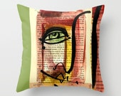 """Funky Face Art, Artsy Pillow, Green, red, black. yellow, Painting I See 35"""" Original abstract painting by Kathy Morton Stanion  EBSQ"""